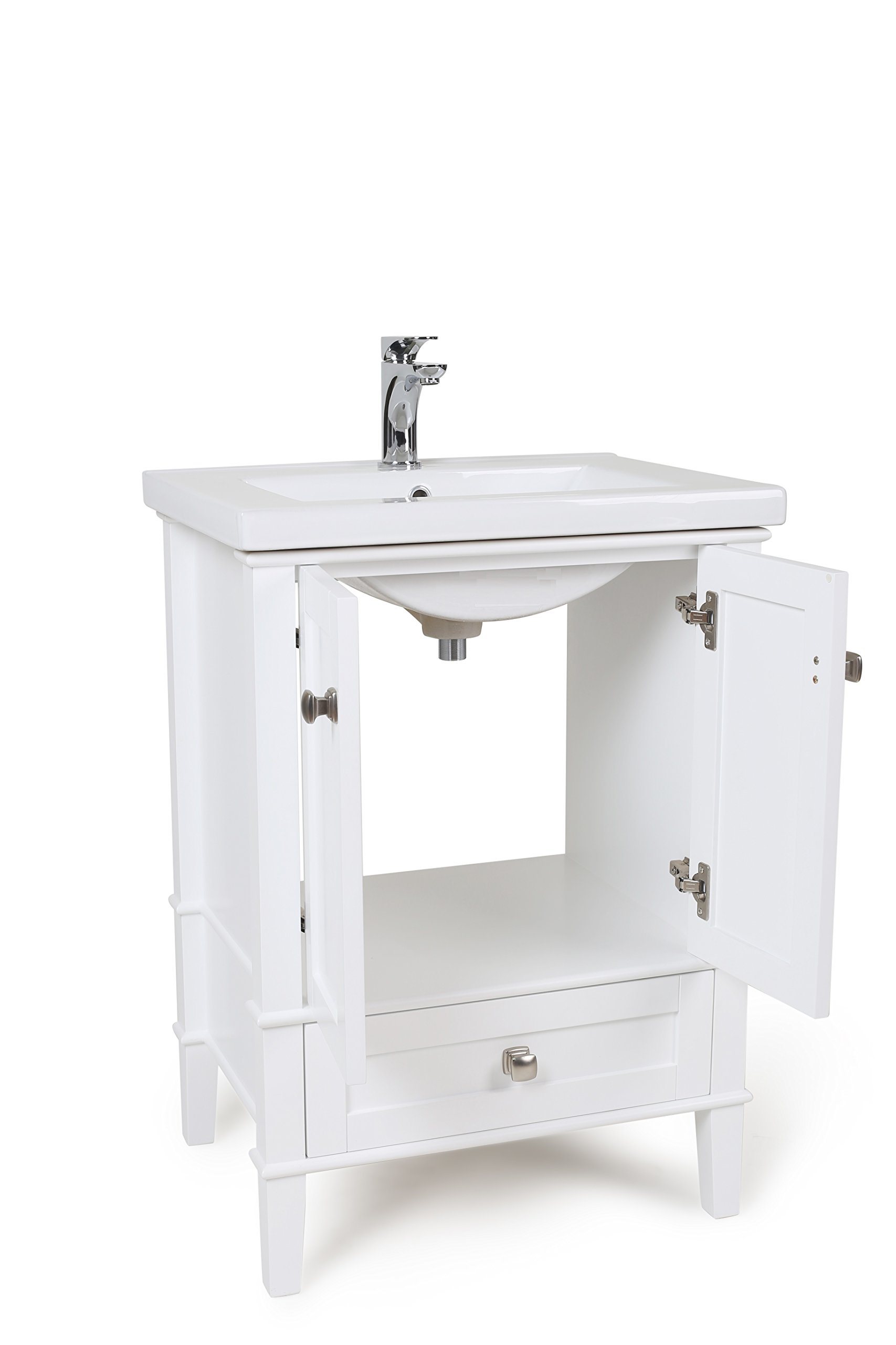 "Elegant Decor VF-2001 Single Bathroom Vanity Set, 24"", White/VF-2001 - Key design with top Quality mirror panels and tapered legs The 2 large drawers provide plenty of storage space for Toiletry and towels Authentic Italian Carrera white marble countertop - bathroom-vanities, bathroom-fixtures-hardware, bathroom - 71XSzmrFRGL -"