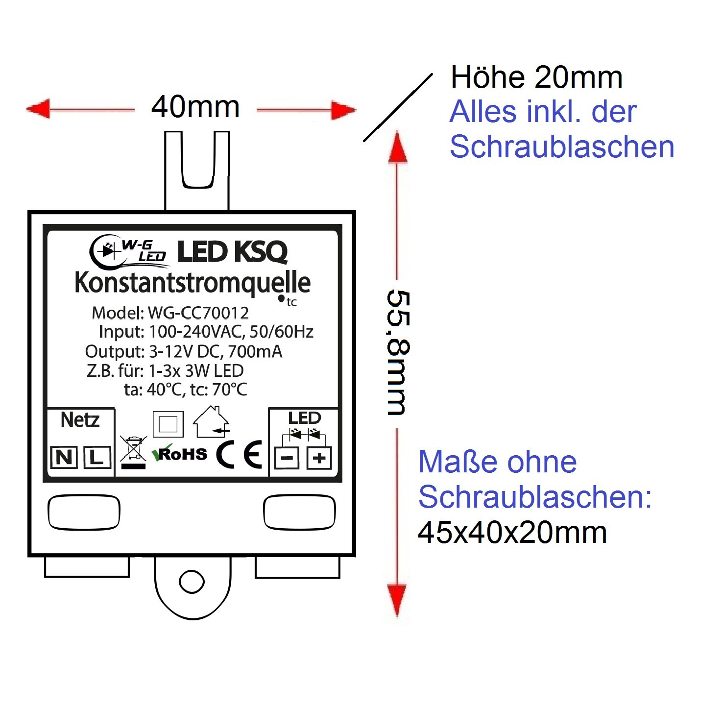 1-3x 3W LED Konstantstromquelle Treiber Constant Current 700mA 3-12V KSQ z.B