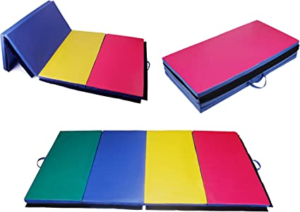 "6/'Ft x 4/'Ft Large Gymnastics PU EPE Mat 2/"" Thick Tri-Fold Tumbling Mats Purple"