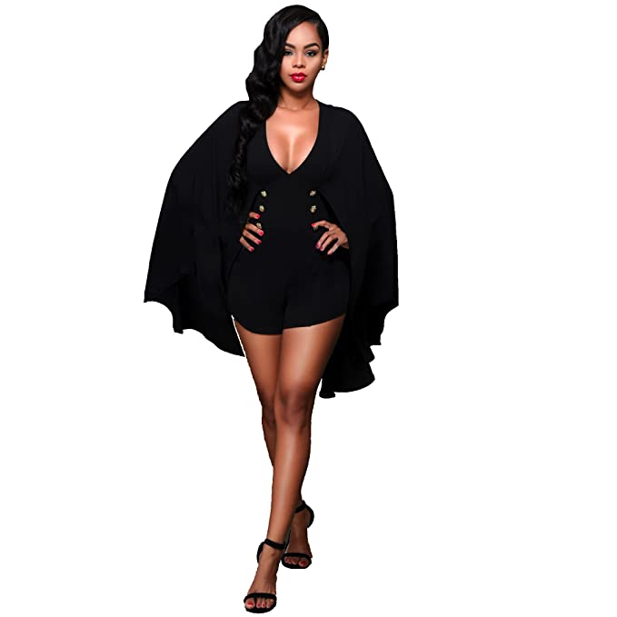 8b81a300b21f Women Sexy Shawl Cloak One Piece Jumpsuit Shorts Rompers Clubwear Black XL