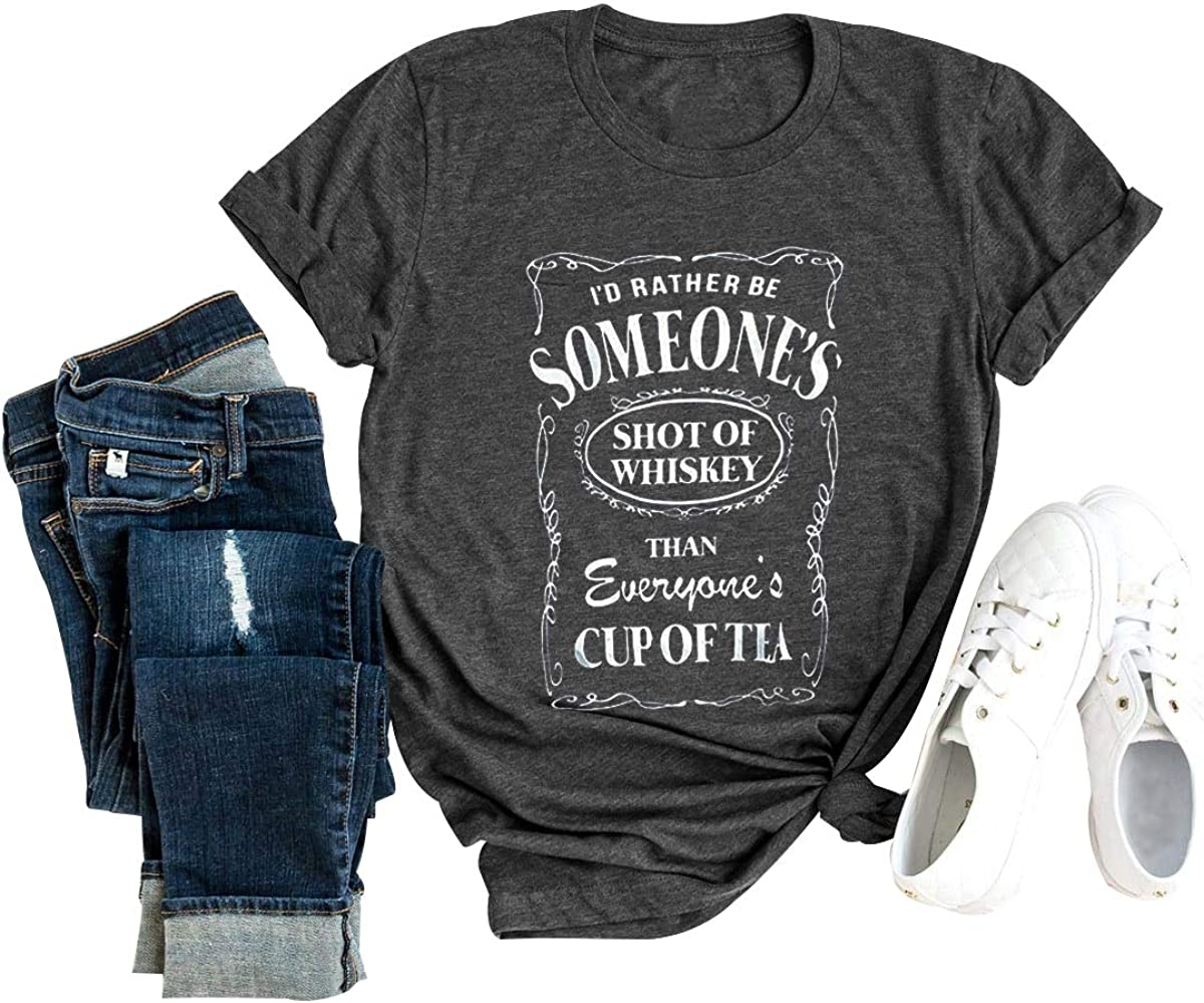 HDLTE Women Shot of Whiskey T-Shirt O-Neck Casual Graphic Drinking Letters Printed Blouse Tops