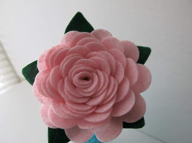 Amazon Pink Felt Rose On Stem 4 Single Flower Valentine Gift