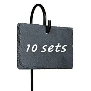 """10 Sets Slate Plan Labels Signs, 2.75"""" × 3.84"""" Natural Slate Plant Tags with 16.9"""" High Metal Hanger Rod Stakes Garden Labels for Gardening, Green House, Outdoor, Pots, Planters, Vegetable, Herb"""