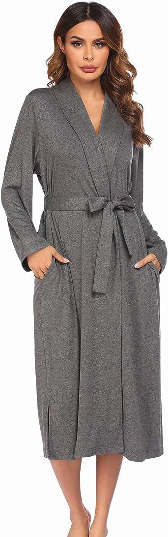 Women Cotton Robes Lightweight Spa Bathrobe Soft Knit Kimono Robes Ladies Sleepwear S-XXL
