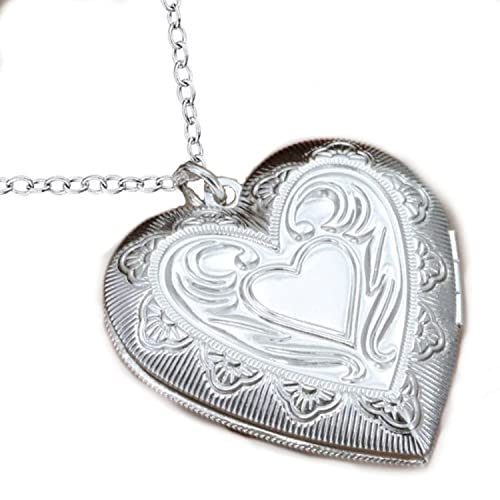 Amazon.com: CS-DB 925 Silver Heart-Shaped Chain Necklace Photo Frame ...