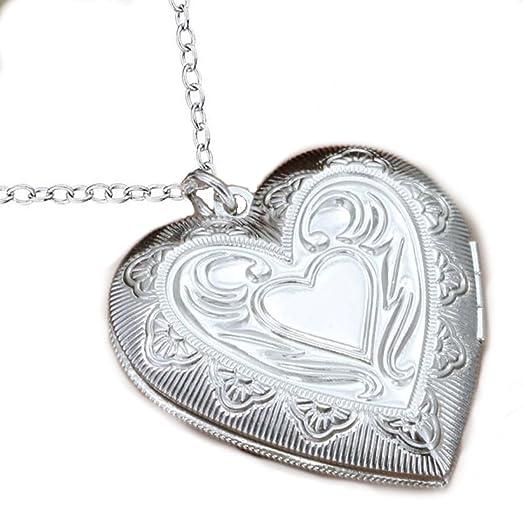 Amazon.com: CS-DB 925 Silver Heart-Shaped Chain Necklace Photo Frame ...