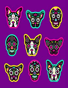 Eaiizer Poster Wall Art Print Patch Badges Sugar Skull Dog and Cat Very Large 24x36 Inches Artwork for Home Bedroom Decor