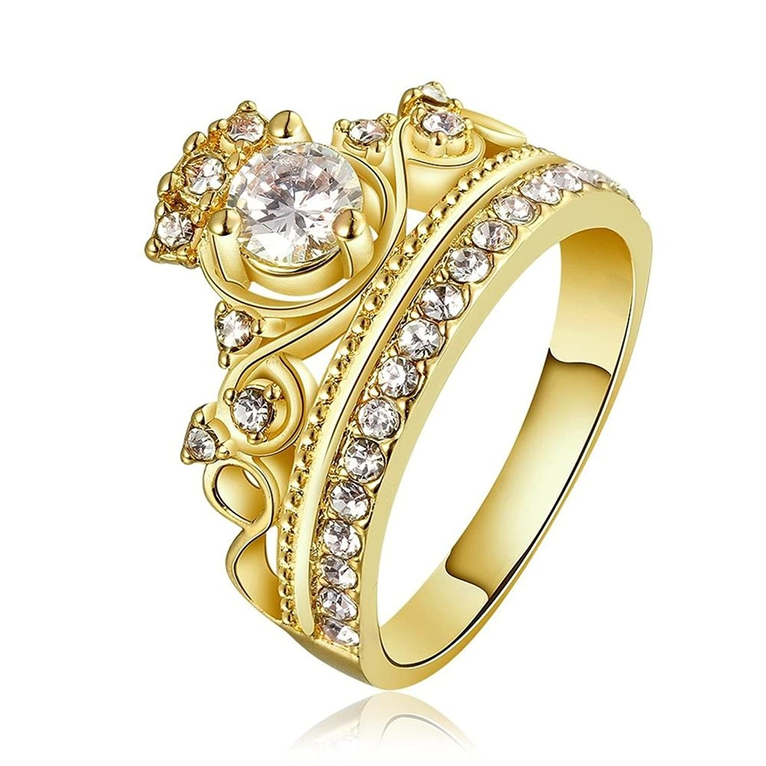 Moandy Jewelry Rings 18K Gold Plated Cubic Zirconia Crystal Princess