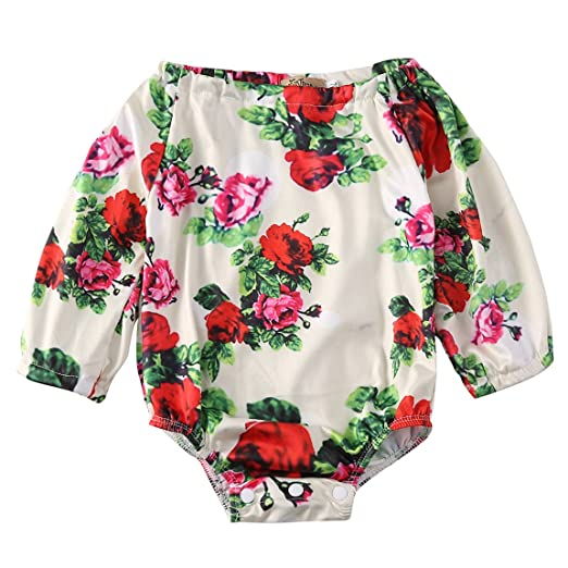 3b8a1b4b19d Baby Girls Off Shoulder Floral Butterfly Bodysuits Newborn Rompers Clothes  (3-6M