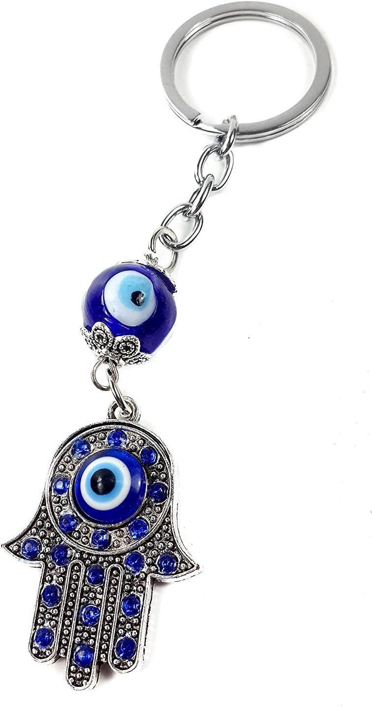Nazareth Store Evil Eye Keychain Hamsa Fatima Hand Protection Charm Key Chain Good Luck Amulet