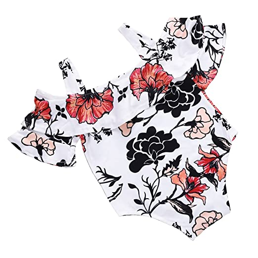 702f3fef1640 Amazon.com  Infant Toddler Baby Girl Floral Romper Halter Bodysuit Jumpsuit  Sunsuit Playsuit Summer Outfit  Clothing