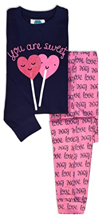 fb78746d964 Girls Heart Pyjamas - Girls Cotton PJS - Childrens Pyjamas Girls - Heart  Love Print PJ Set - Kids Long Sleeve PJS