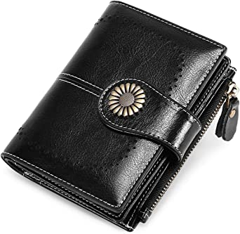 Womens Small Wallet Lady Purse Bifold Rfid Blocking Leather Short Zipper Wallet Vintage Card Holder Organizer Safe Coin Purse Black Clothing Amazon Com
