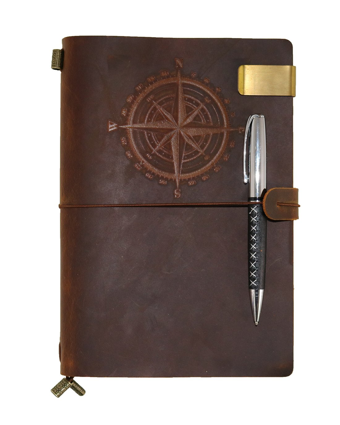 Leather Notebook Classic Compass Travelers Notebook Journal Refillable, Gift for Men & Women A5 Vintage Genuine Leather Notebook With For Writing, Perfect to write in,Travel Diary With Ballpoint Pen