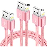 Lightning Cable Youruiqi iPhone Charger - 3PACK 3FT 6FT 10FT Nylon Braided 8 Pin USB Charging Cables Cord for iPhone X,8,8 Plus,7,7 Plus,6s,6s Plus,6,6 Plus,SE,5s,iPad mini,Air,Pro,iPod - Rose