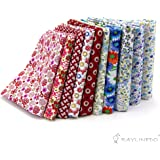 "RayLineDo® 10 Pcs Different Pattern Multi Color 100% Cotton Poplin Fabric Fat Quarter Bundle 18"" x 22"" Patchwork Quilting Fabric Red and Blue Series"