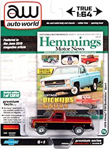 Auto World 64272 1:64 Hemmings Motor News 1979 Chevy Scottsdale SR B Red Black