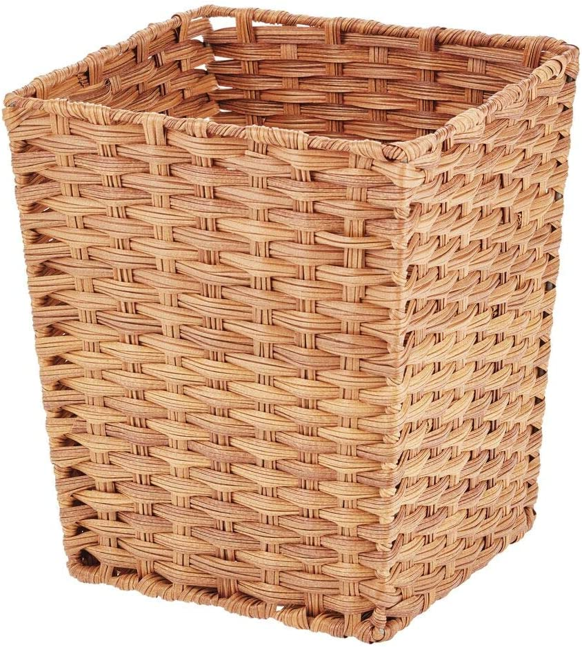 mDesign Small Woven Basket Trash Can Wastebasket - Square Garbage Container Bin for Bathrooms, Kitchens, Home Offices, Craft, Laundry, Utility Rooms, Garages - Camel Brown