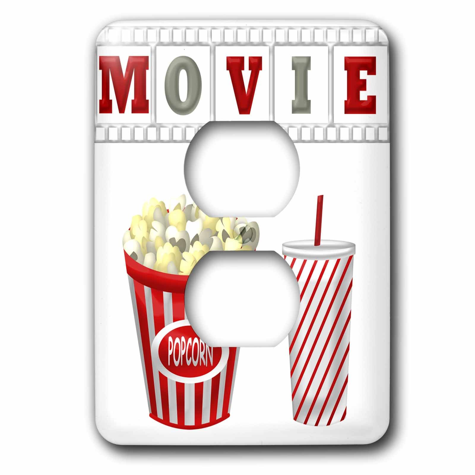 3dRose lsp_222695_6 The Word Movie with Popcorn and Soda Illustration in Red, White, and Gray - 2 Plug Outlet Cover