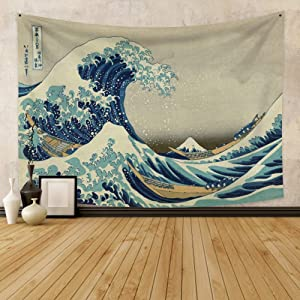 Renaiss 59.1x51.2 Inches The Great Wave Tapestry Japanese Ocean Wave Mount Fuji Boat Spot Kanagawa Tapestry Wall Hanging Traditional Japan Ukiyo-e Art Printing for Living Room Bedroom Home Decor