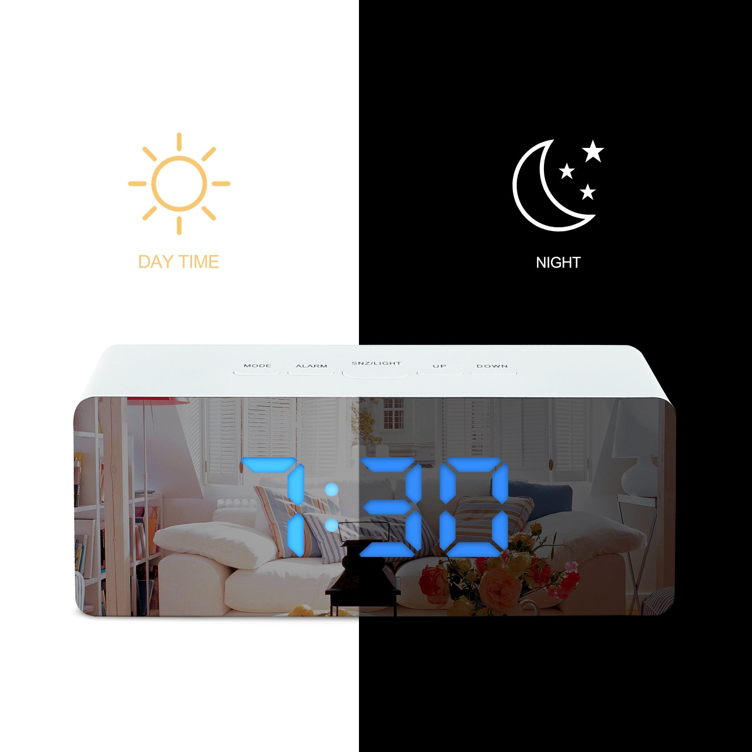 Shayson Digital Alarm Clock, LED Display Clock Best Makeup Bedroom Mirror Travel Alarm Office Bedroom Clock, Dual Alarm With Snooze, Dimmer Control, Support Battery Powered And With Usb Port-Blue