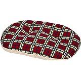 Gor Pets Oval Soft Pet Cushion Washable Dog Cat Plastic Bed Basket, 32-inch, Red/ Cream Fleece