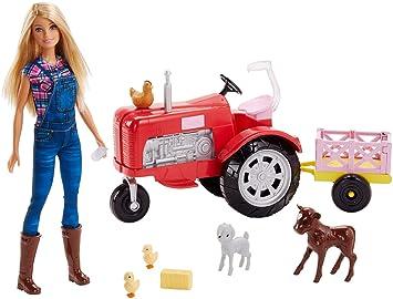 Barbie Quier Ser granjera, muñeca con accesorios, tractor y animales (Mattel FRM18)
