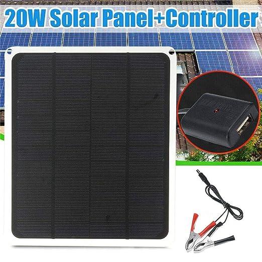 Cargador de batería con panel solar, 20W 12V / 5V Alta ...