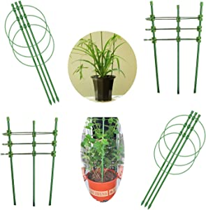 EASTCATO Tomato Cages and Supports, 18 inches Adjustable Plant Stakes and Supports, Garden Stakes for Plants Plant Support Stakes for Home Garden Balcony Pots(4 Pack)