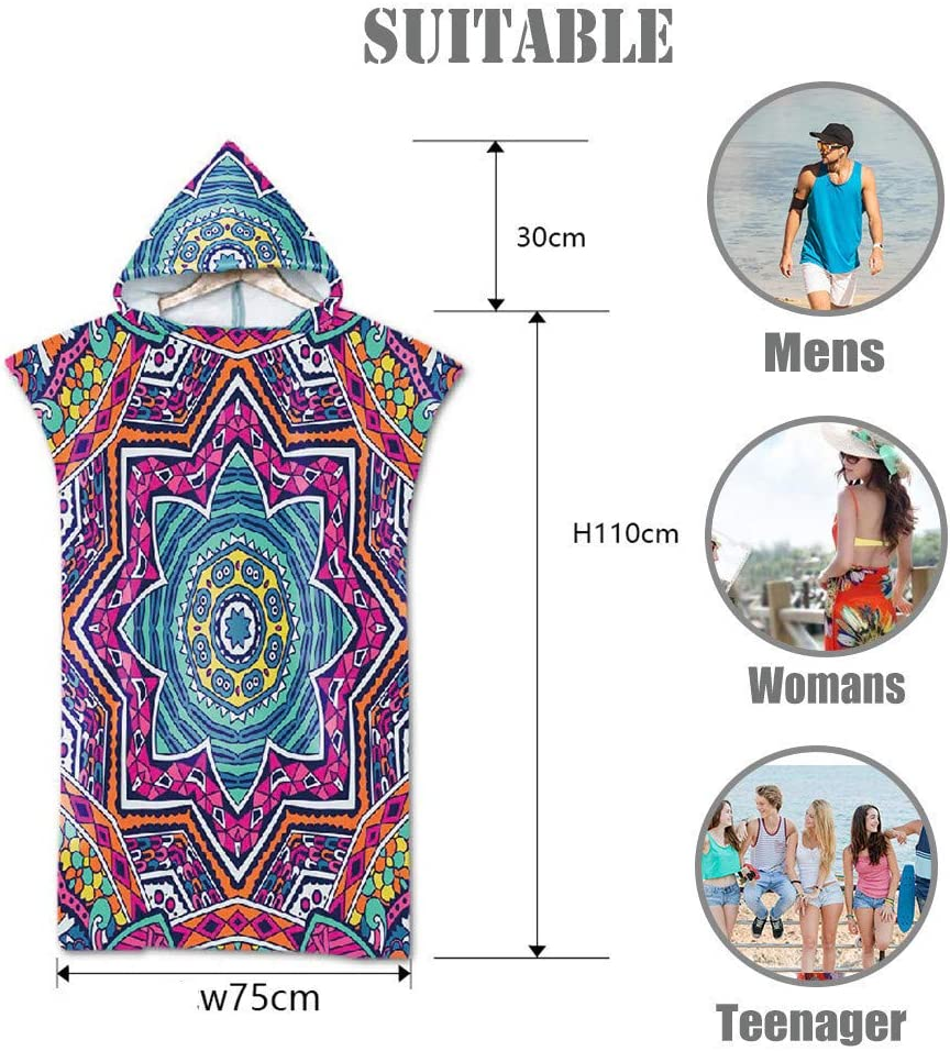 Fansu Beach Towel Hooded Poncho Large Microfiber Changing Robe Bathing Hooded Compact Blanket with Hood for Surfing Swimming Wetsuit Adult Woman /& Man