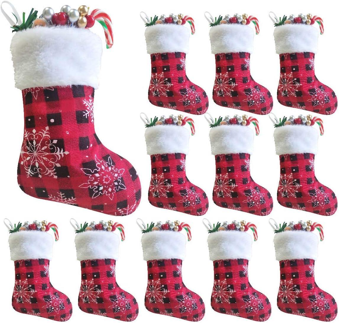 Set of 12 Miniature Red Felt Christmas Stocking Bundle