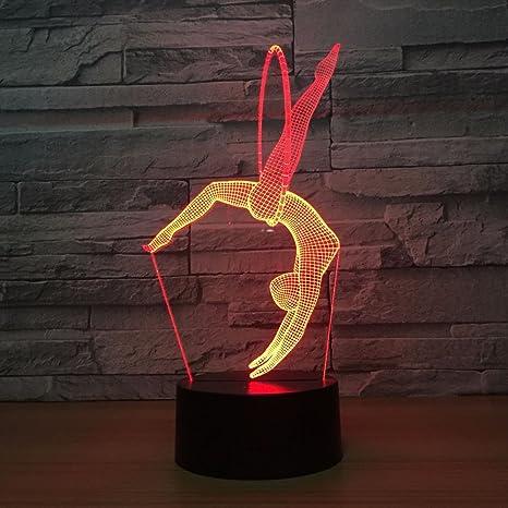 RMRM Luz Nocturna 3D Gimnasia Yoga D Lámpara Led 7 Colores ...
