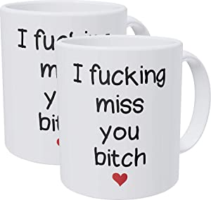 Willcallyou Pack of 2 I Miss You Friend, Girl, Long Distance Friendship, Girlfriends 11 Ounces Funny White Coffee Mug