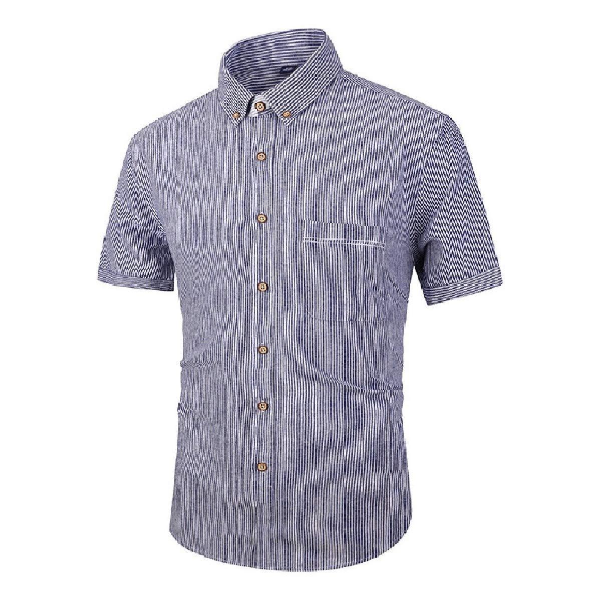 SportsX Mens Regular Fit Summer Cotton Short-Sleeve Stripes Shirt Tops