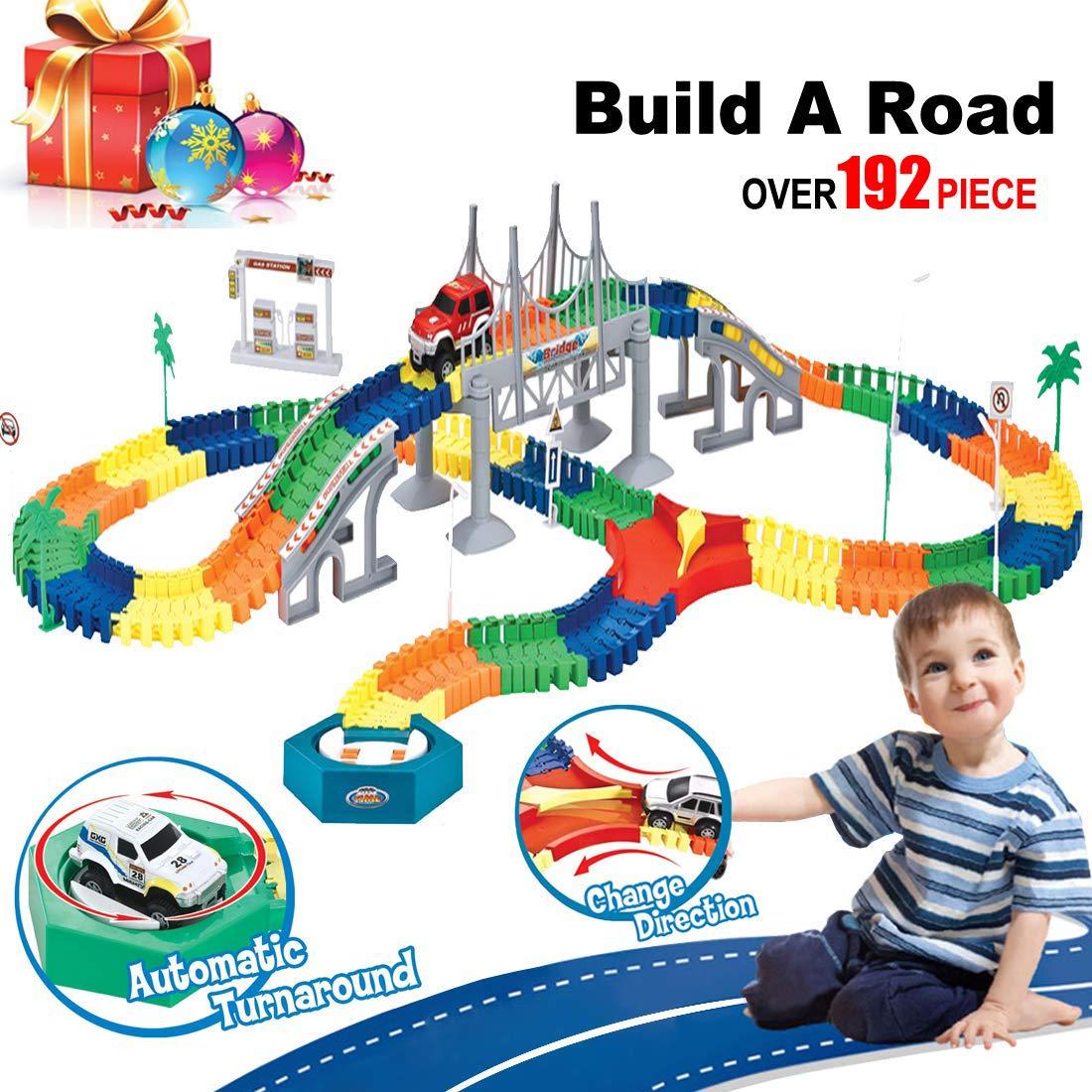 BooTaa 車レーストラック クルマの路面 恐竜 ジュラシックワールド おもちゃ ブリッジ 142ピース 柔軟なトラック、電車セット ゲーム、ギフト、子供、パーティー、幼児 GDC-GREEN-18-US B07HFRSH1Z Car Tracks-192 Piece