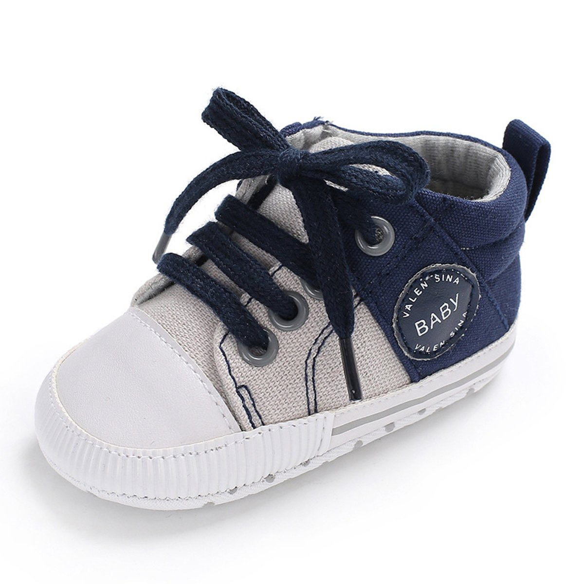 Tutoo Unisex Baby Boys Girls Soft Anti-Slip Sole Sneakers Newborn Intant First Walkers Canvas Denim Shoes (6-12 Months, A-Blue) by Tutoo (Image #1)