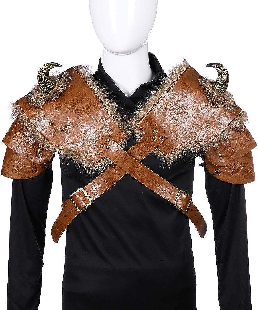 YAHUIPEIUS Men Shoulder Armor Costume Adjustable PU Armor with Horn Viking Pirate Gladiator Spartan Warrior Costume