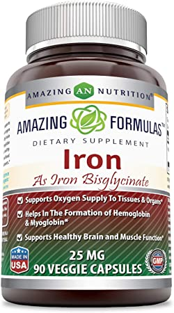 Amazing Formulas Iron as Iron Bisglycinate 25 Mg Veggie Capsules (Non-Gmo,Gluten Free)-Supports Oxygen Supply to Tissues & Organs-Helps in The Formation of Hemoglobin & Myoglobin.(180 Veggie Capsules)