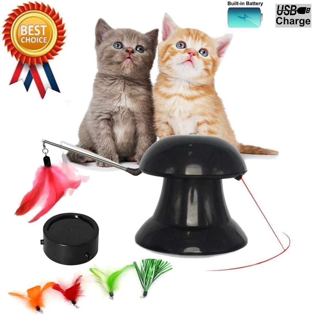 FIRIK Juguete de Gato Interactivo Automático de Luz de Rotación Práctica Pequeño Gato Mediano Juguete - Nuevo Negro: Amazon.es: Productos para mascotas