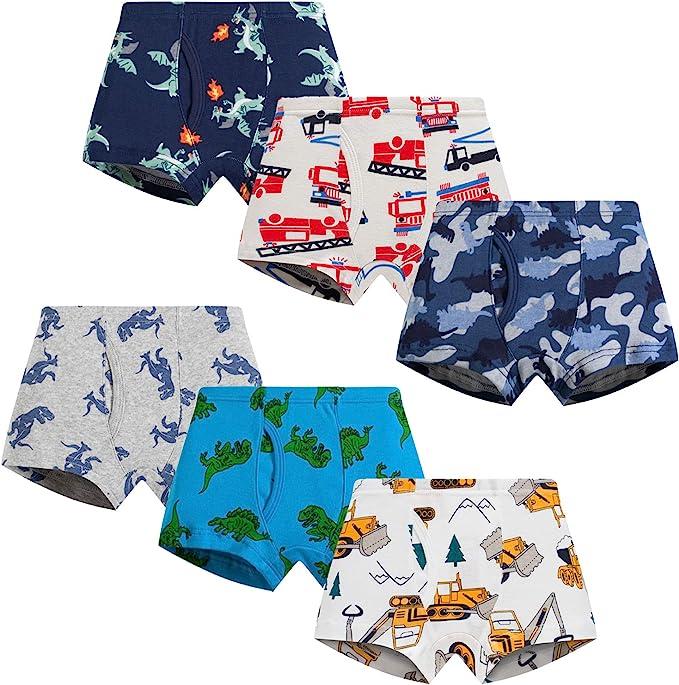 Boboking 100/% Cotton Little Boys Briefs Soft Dinosaur Truck Toddler Underwear