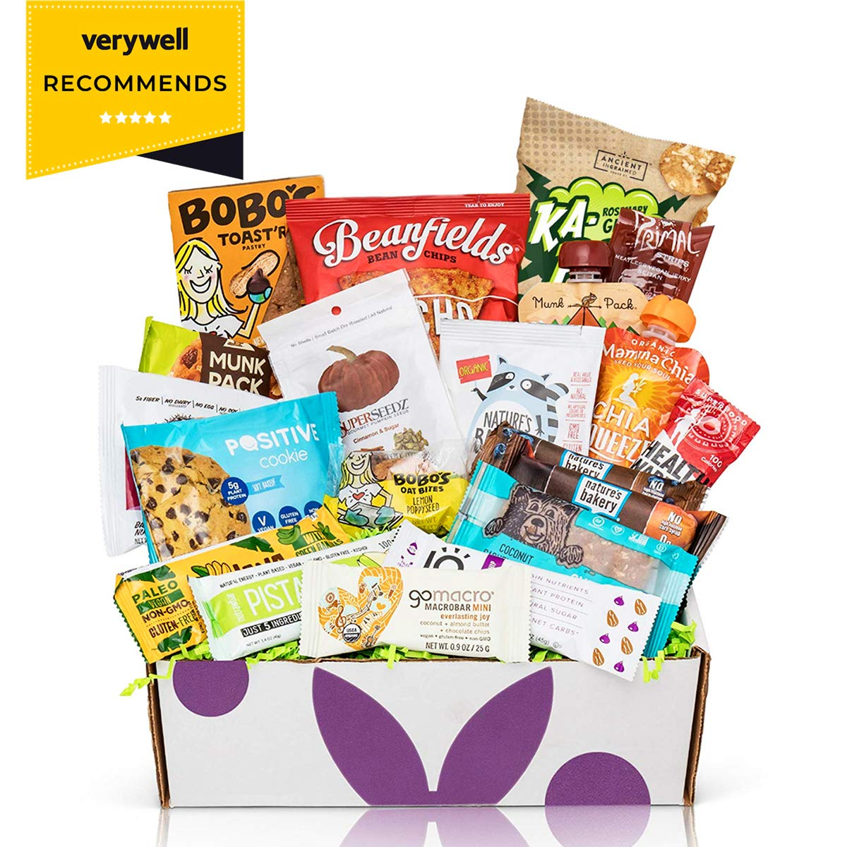 Healthy Vegan Snacks Care Package: Mix of Vegan Cookies, Protein Bars, Chips, Vegan Jerky, Fruit & Nut Snacks, Vegan Gift Box by BUNNY · JAMES ·