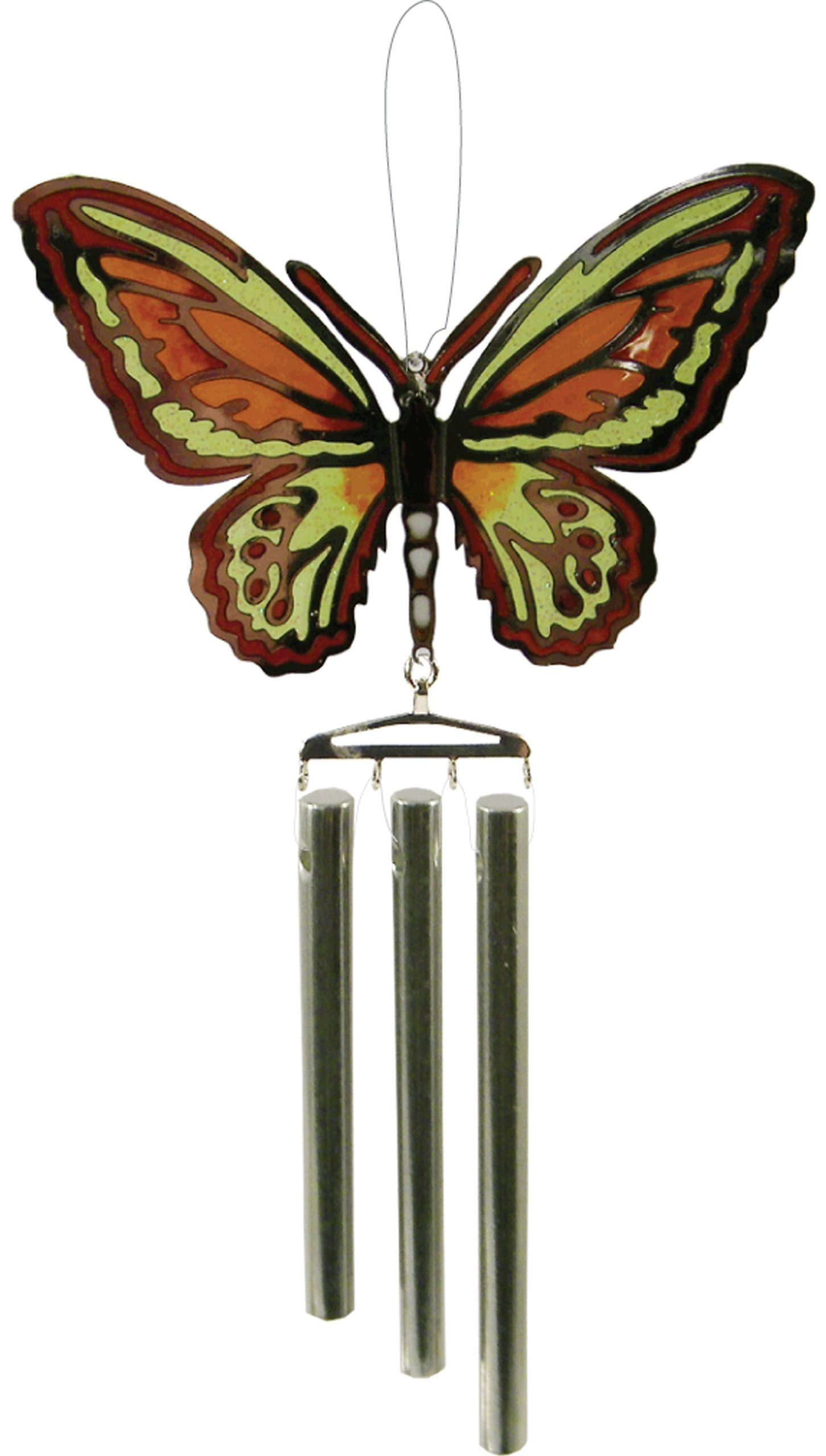 Chrome Plated Wind Chime Sun Catcher, Ornament or Magnet..... Epoxy Butterfly
