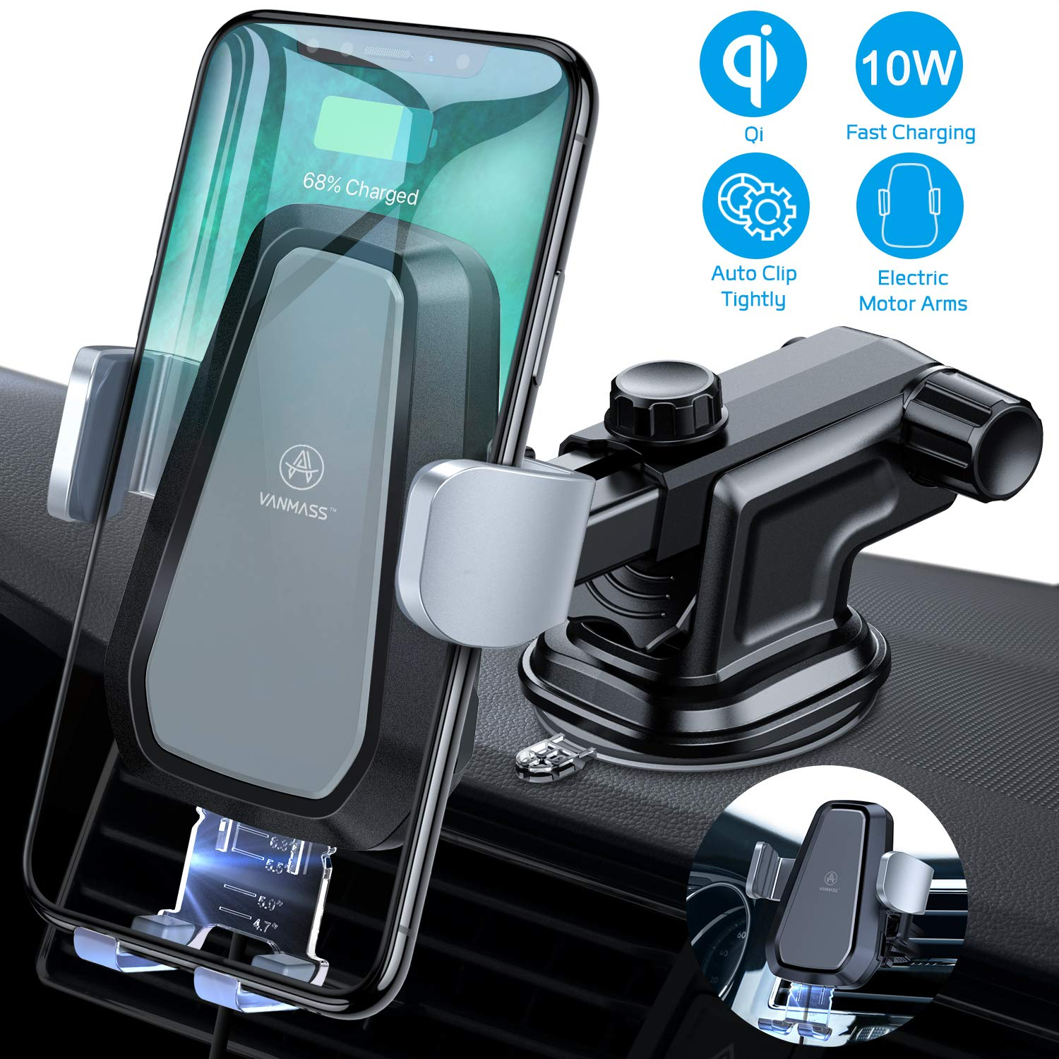VANMASS Wireless Car Charger Mount, Automatic Clamping Qi 10W 7.5W Fast Charging & 5W Car Mount, Windshield Dashboard Air Vent Phone Holder Compatible with iPhone Xs Max XR 8, Samsung S10 S9 S8 Note 9