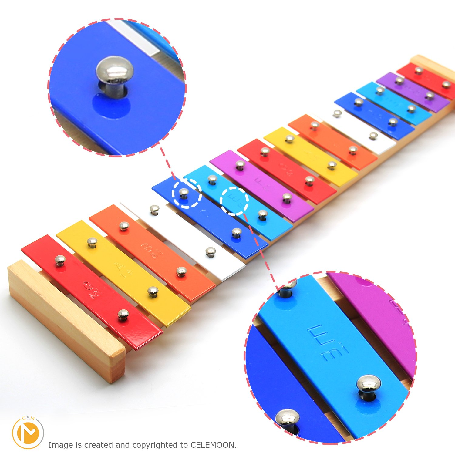 CELEMOON Natural Wooden Toddler Xylophone Glockenspiel For Kids with Multi-Colored Metal Bars Included Two Sets of Child-Safe Wooden Mallets (15-tone) by CELEMOON (Image #2)