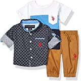 U.S. POLO ASSN. Baby Boy's Long Sleeve Woven Shirt, T-Shirt, and Jogger Set Pants