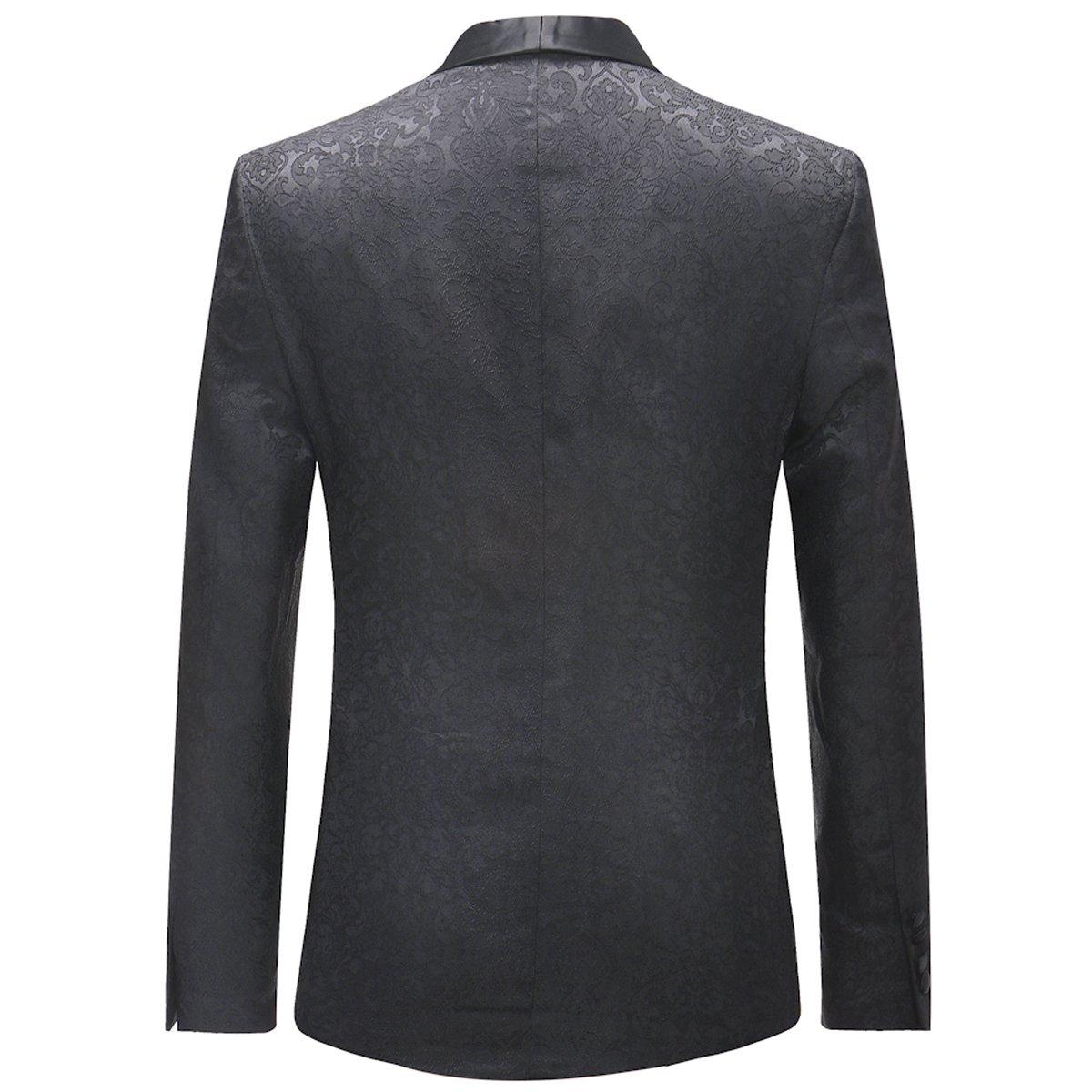 03986df9f4af4c Mens Suits 3 Pieces Slim Fit Wedding Business Suits Jacquard Shawl Lapel  Tuxedo Blazer Waistcoat Trousers: Amazon.co.uk: Clothing