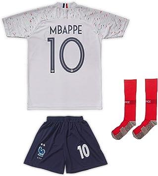 And Francia Mbappe/Griezmann 2019/2020 Camiseta de visitante con pantalones cortos y calcetines para niños y jóvenes, talla, 164 - (10-11 Jahre): Amazon.es: Deportes y aire libre