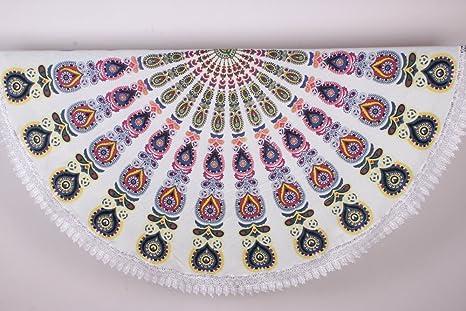 Mandala de ganchillo Roundie Beach manta tapiz indio playa toalla de flecos, Hippy Boho Gypsy