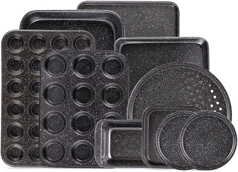 Fit Choice 10-Piece Nonstick Baking Set With Baking Pan, Cookie Sheet Set, Cake Pan, Muffin Pan, and Pizza Pan, 10-Piece Set Nonstick Bakeware Sets (Ceramic Coated Black): Kitchen & Dining