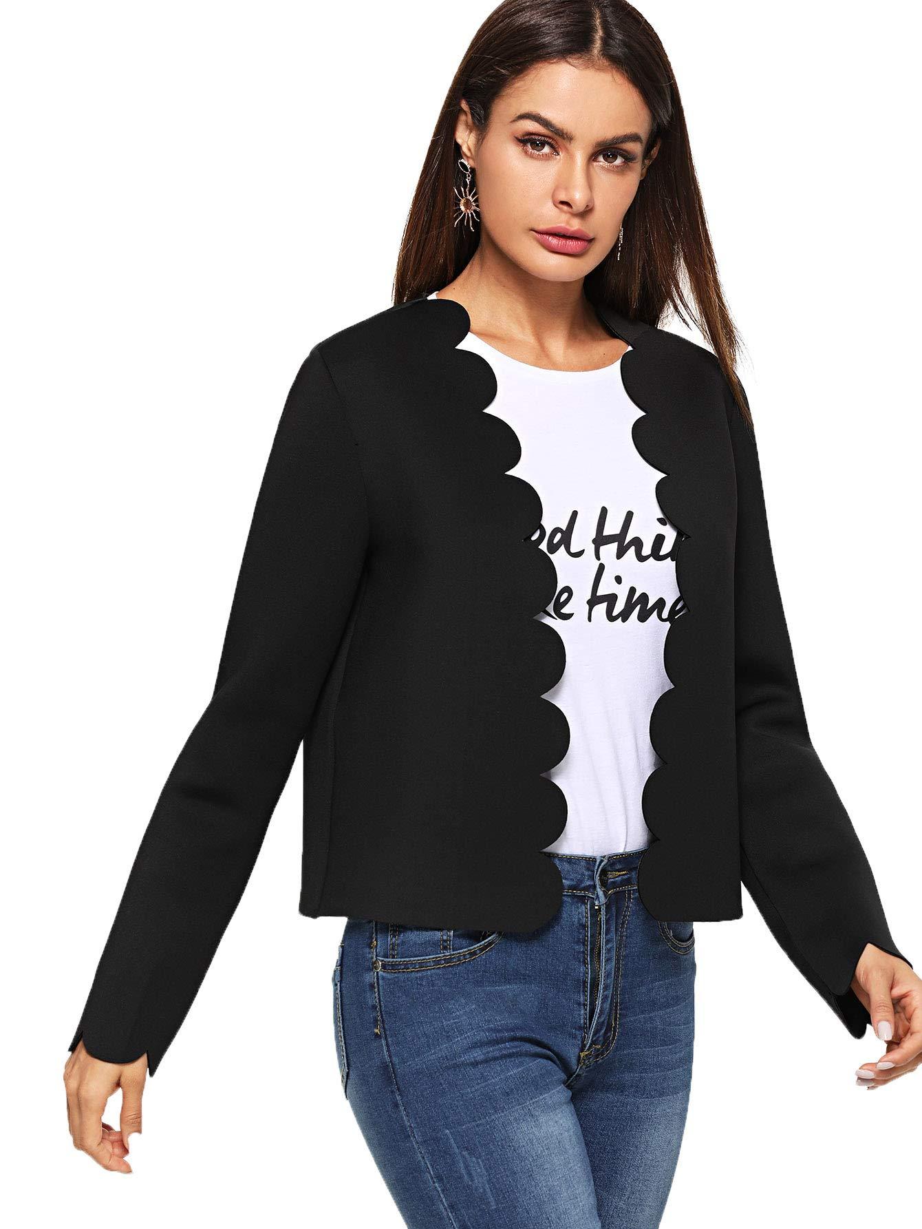 Romwe Women's Scallop Hem Casual Work Office Open Blazer Jacket Black Large by Romwe (Image #4)